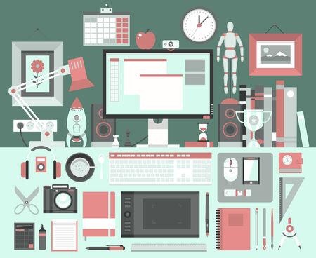 workspace: Flat modern design illustration concept of creative office workspace, workplace.