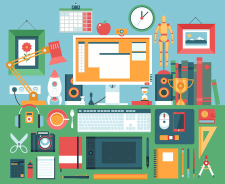 Flat modern design illustration concept of creative office workspace, workplace.  Vector