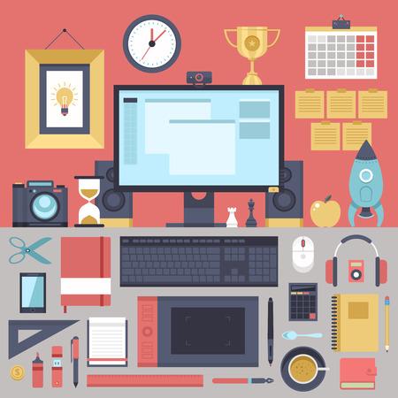 speakers desk: Flat modern design illustration concept of creative office workspace, workplace.  Illustration