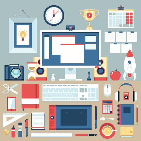 espacio de trabajo: Piso moderno dise�o ilustraci�n concepto de espacio de trabajo creativo oficina, lugar de trabajo. Vectores