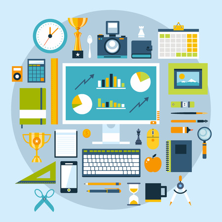 speakers desk: Flat design style modern illustration icons set of office items and tools