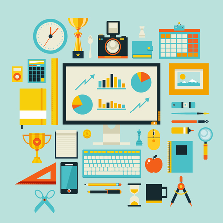Flat design style modern illustration icons set of office items and tools, office various objects and equipment.  Vector