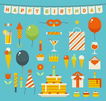 Birthday party flat icons. Vector