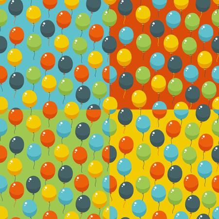 Colored party baloons pattern. Birthday, wedding, anniversary, jubilee, rewarding and winning invitation design. Seamless backgrounds. Vector