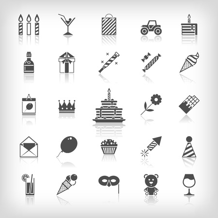 Collection of birthday, jubilee, holiday, celebrating party icons. Black silhouettes isolated on white background. Vector