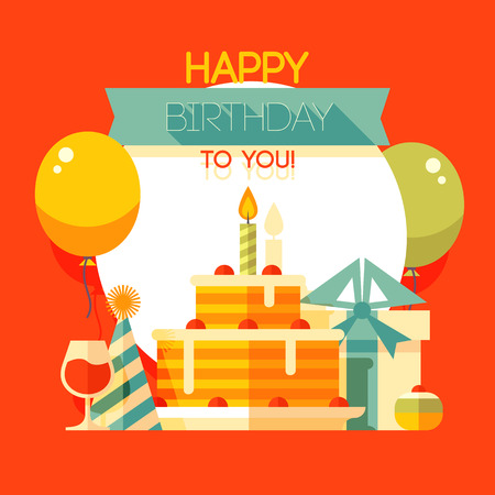 Birthday, anniversary, jubilee party invitation card, postcard design. Vector illustration. Vettoriali