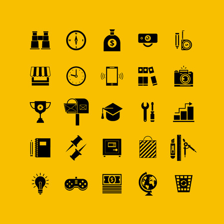 Black flat icons set. Business object, office tools. Marketing, social, creative stuff. Vector
