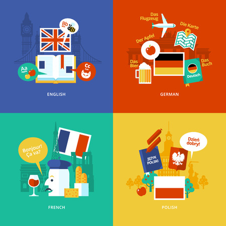 in english: Set of flat design concept icons for foreign languages. Icons for english, german, french and polish. Illustration