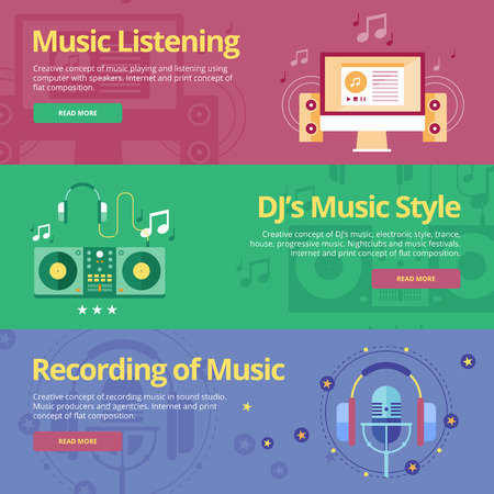 music listening: Set of flat design concepts for music listening, djs music style, recording. Concepts for web banners and print materials Illustration