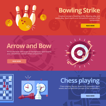 Set of flat design concepts for bowling strike, arrow and bow, chess playing. Concepts for web banners and print materials Illustration