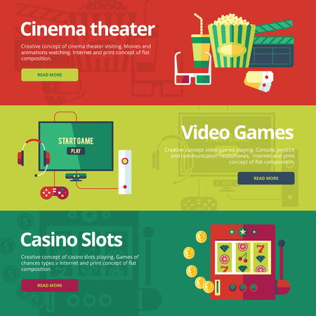 theather: Set of flat design concepts for cinema theater, video games, casino slots.  Concepts for web banners and print materials