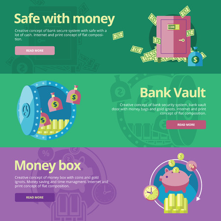 vault: Set of flat design concepts for safe and money, bank vault, money box.  Concepts for web banners and print materials
