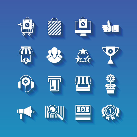 e retailers: Shopping flat white icons set with long shadows
