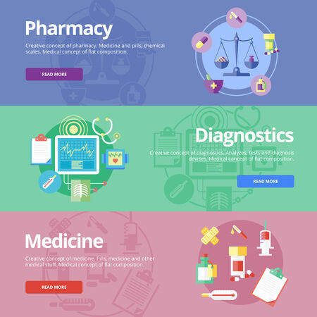 pharmacy store: Set of flat design concepts for pharmacy, diagnostics, medicine. Medical concepts for web banners and print materials. Illustration