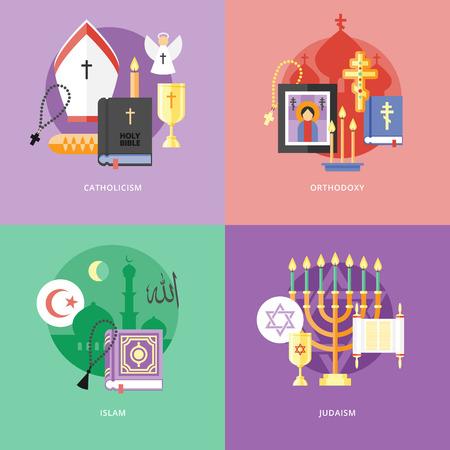 estrella de david: Conjunto de iconos del concepto de diseño de planos para las religiones y confesiones. Iconos para el catolicismo, la ortodoxia, islam, judaísmo.