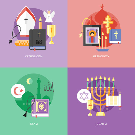 catholicism: Set of flat design concept icons for religions and confessions. Icons for catholicism, orthodoxy, islam, judaism.