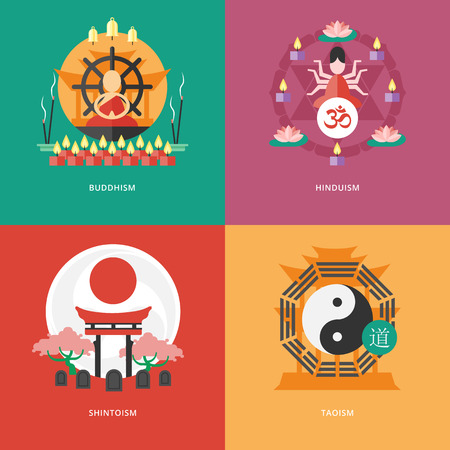 buddhism prayer belief: Set of flat design concept icons for religions and confessions. Icons for buddhism, hinduism, shintoism, taoism.