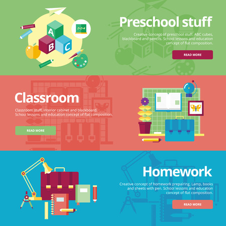 Set of flat design concepts for preschool, classroom and homework. Education concepts for web banners and print materials.