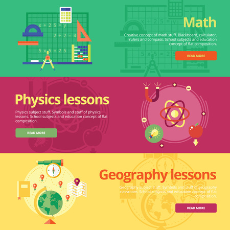 Set of flat design concepts for math, physics, geography. Education concepts for web banners and print materials.