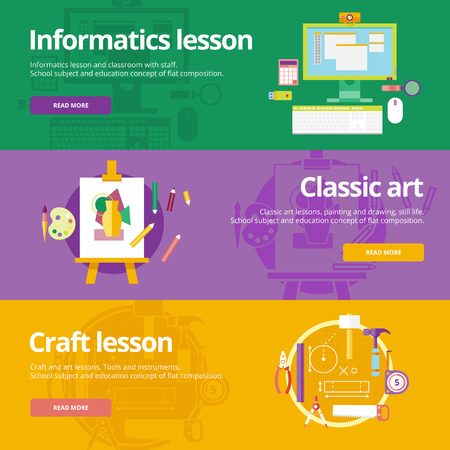art lessons: Set of flat design concepts for informatics, classic art, craft lessons. Education concepts for web banners and print materials. Illustration