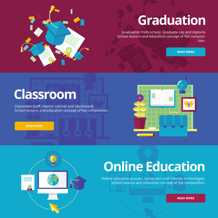learning concept: Set of flat design concepts for graduation, classroom, online education. Education concepts for web banners and print materials.