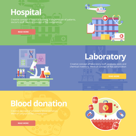 Set of flat design concepts for hospital, laboratory and blood donation. Medical concepts for web banners and print materials. Vector