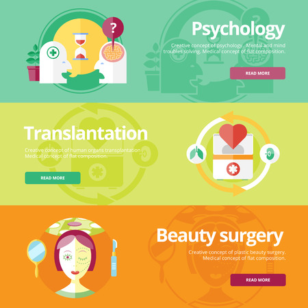beauty surgery: Set of flat design concepts for psychologyst, transplantation, beauty surgery. Medical concepts for web banners and print materials.