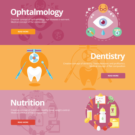 vision problems: Set of flat design concepts for ophtalmology, dentistry, nutrition. Medical concepts for web banners and print materials. Illustration