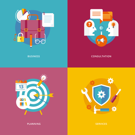 target market: Set of flat design concept icons for business and marketing. Icons for business, consultation, planning and services.