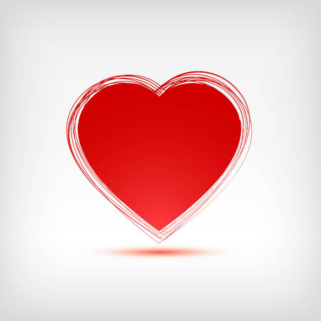 Red heart shape on white background. Vector