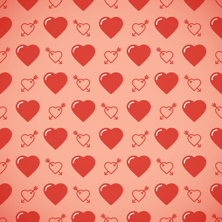 amorousness: Lovely heart romantic pattern. Seamless vector background. Illustration