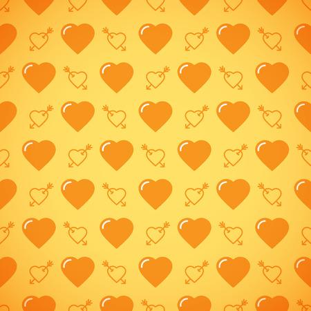 Lovely heart romantic pattern. Seamless vector background. Vector