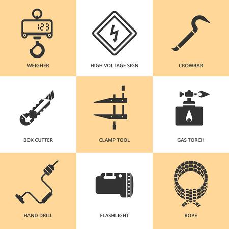 box cutter: Herramientas de trabajo planas de moda iconos siluetas negras Vectores
