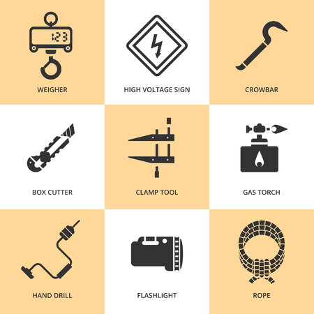 crowbar: Trendy flat working tools icons black silhouettes Illustration