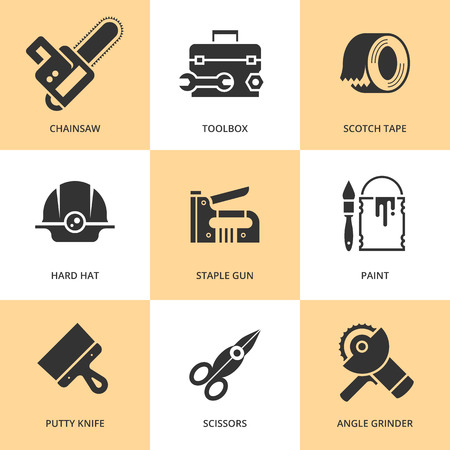 putty knife: Trendy flat working tools icons black silhouettes Illustration