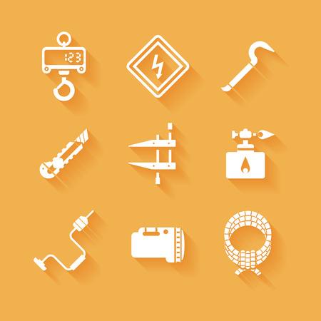 box cutter: Herramientas de trabajo planas de moda iconos siluetas blancas Vectores