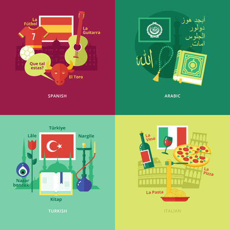 dialect: Set of flat design concept icons for foreign languages. Illustration