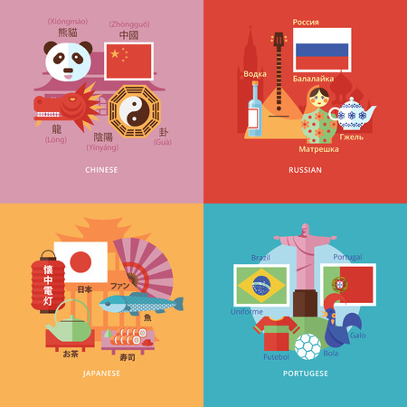 chinese dialect: Set of flat design concept icons for foreign languages. Illustration