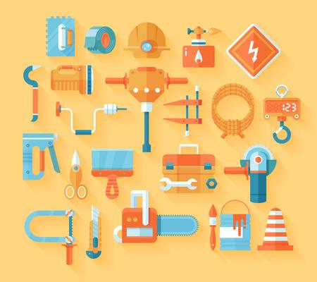 box cutter: Herramientas de trabajo plana conjunto de iconos.