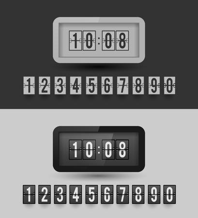 Black and white split-flip display clock.