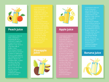fruit smoothie: Fruit smoothie collection. Menu element for cafe or restaurant with energetic fresh drink made in flat style. Fresh juice for healthy life. Organic raw shakes.