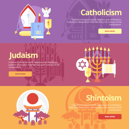 Flat design banner concepts for catholicism, judaism, shintoism. Religion concepts for web banners and print materials.