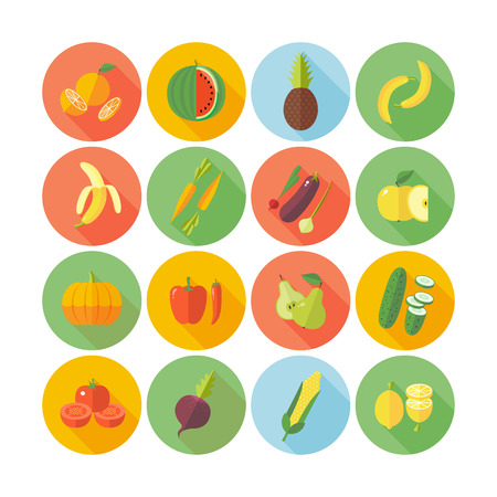 Set of flat design icons for fruits and vegetables. Illustration