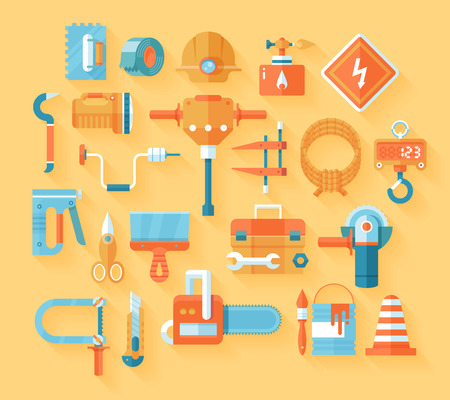staple gun: Flat working tools icon set.