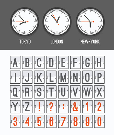 Airport arrival table alphabet with characters and numbers for departures, arrivals, clocks, countdowns. Vector illustration. Vector
