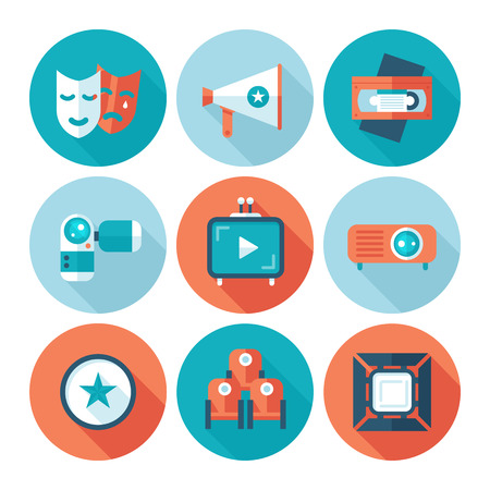 screenplay: Set of flat cinema and movie icons. Media video attributes.