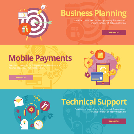business planning: Set of flat design concepts for business planning, mobile payments, technical support. Concepts for web banners and print materials Illustration
