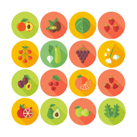 Set of flat design circle icons for fruits and vegetables. Vettoriali