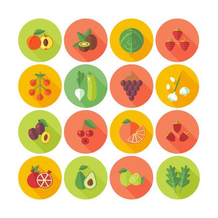 fruits vegetables: Set of flat design circle icons for fruits and vegetables. Illustration