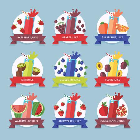 cocteles de frutas: Colecci�n batido de frutas. Elemento de men� para bar o restaurante con bebida fresca energ�tica hecha en estilo plano. El jugo fresco para la vida sana. Batidos crudos org�nicos. Vectores